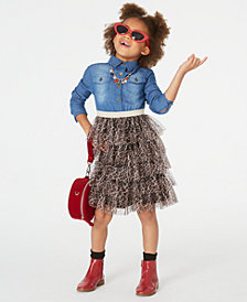 Rare Editions Little Girls Denim & Leopard-Print Tiered Dress
