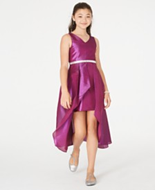 Rare Editions Big Girl Jacquard Pleated-Overlay Gown