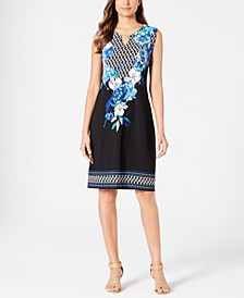 Petite Keyhole-Neck Sheath Dress, Created for Macy's