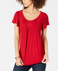 Style & Co Pleated-Neck Flutter-Sleeve Top, Created for Macy's