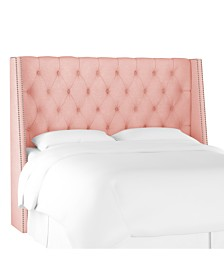 King Nail Button Tufted Wingback Headboard, Quick Ship