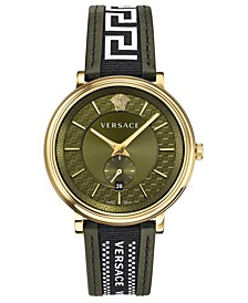 Men's Swiss V Circle Greca Edition Green Leather Strap Watch 42mm