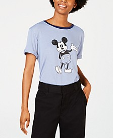 Juniors' Mickey Mouse Graphic Ringer T-Shirt