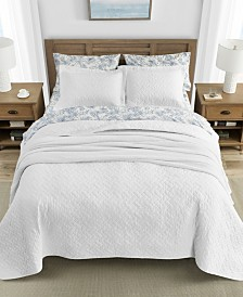 Tommy Bahama Solid White Quilt Set, Full/Queen