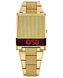 Men's Digital Archive Computron Gold-Tone Stainless Steel Bracelet Watch 31.1x40.3mm