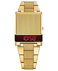 Bulova Men's Digital Archive Computron Gold-Tone Stainless Steel Bracelet Watch 31.1x40.3mm