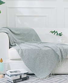 Ultra Soft Knit Throw Blanket with Decorative Fringes
