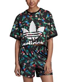 adidas Originals Bellista Floral Cropped T-Shirt