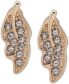 lonna & lilly Gold-Tone Crystal Leaf Stud Earrings