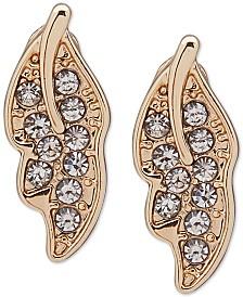 lonna & lilly Gold-Tone Crystal Leaf Stud Earrings