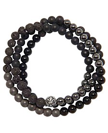 Men's Wrap-Around Bracelet with Lava Stone, Hematite and Agate