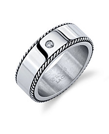 He Rocks Oxidized Rope Design Stainless Steel Ring with Cubic Zirconia