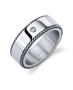 Oxidized Rope Design Stainless Steel Ring with Cubic Zirconia
