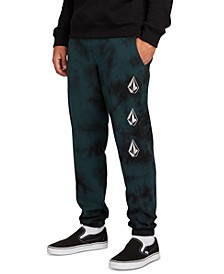 Men's Deadly Stones Tie-Dyed Logo-Print Fleece Pants