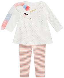 Baby Girls Unicorn Tunic & Striped Leggings Set