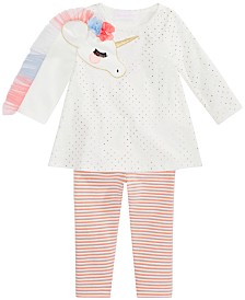 Bonnie Baby Baby Girls Unicorn Tunic & Striped Leggings Set