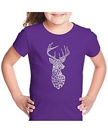 Girl's Word Art T-Shirt - Types of Deer