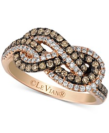Le Vian Chocolatier® Knots™ Chocolate Diamonds® (3/8 ct. t.w.) & Vanilla Diamonds® (1/4 ct. t.w.) Statement Ring in 14k Rose Gold