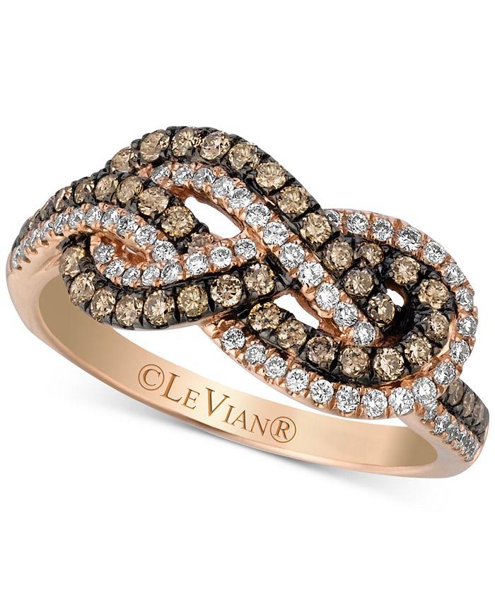 Le Vian - Knots Chocolate Diamonds® (3/8 ct. t.w.) & Vanilla Diamonds® (1/4 ct. t.w.) Statement Ring in 14k Rose Gold