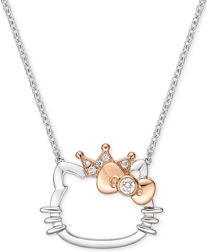 """Chow Tai Fook - Diamond Accent Hello Kitty 18"""" Pendant Necklace in 18k White Gold & Rose Gold"""