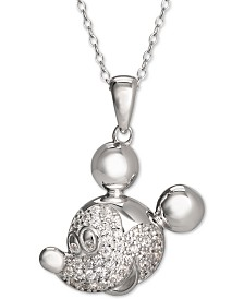 "Disney Cubic Zirconia Pavé Mickey Mouse 18"" Pendant Necklace in Sterling Silver"