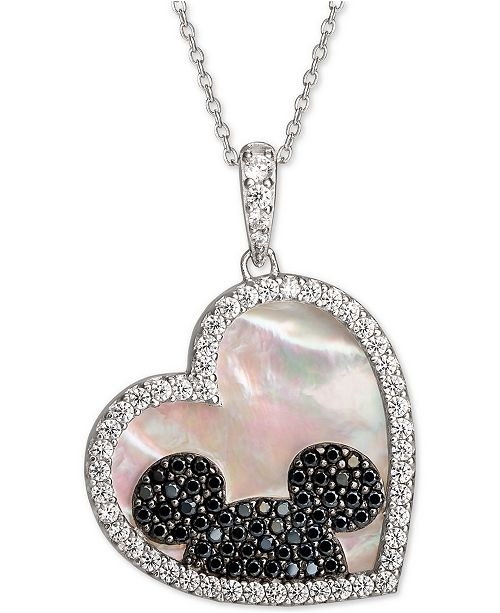 """Disney Mickey Mouse Cubic Zirconia & Black Spinel Heart 18"""" Pendant Necklace in Sterling Silver"""