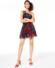 City Studios Juniors' One-Shoulder Skater Dress, Created for Macy's