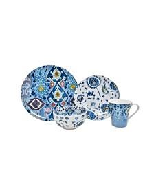222 Fifth Indigo Fade 16 Piece Porcelain Dinnerware Set