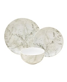 222 Fifth Marble White 12 Piece Porcelain Dinnerware Set