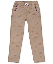 Little Boys Stretch Skateboard-Print Twill Pants