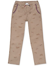 Tommy Hilfiger Big Boys Angel Arc-Fit Stretch Skateboard-Print Twill Pants