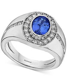 EFFY® Men's Tanzanite (1-3/4 ct. t.w.) & Diamond (5/8 ct. t.w.) Ring in 14k White Gold