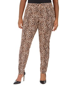 I.N.C. Plus Size Leopard-Print Skinny Jeans, Created for Macy's