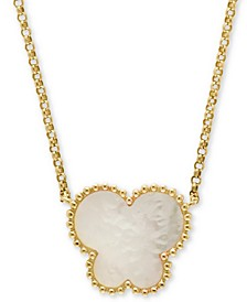 """EFFY® Mother-of-Pearl Butterfly 18"""" Pendant Necklace in 14k Yellow Gold"""