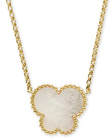 "EFFY® Mother-of-Pearl Butterfly 18"" Pendant Necklace in 14k Yellow Gold"