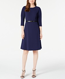 Calvin Klein Petite Belted A-Line Dress