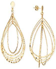 Textured Multi-Teardrop Drop Earrings in 14k Gold-Plated Sterling Silver