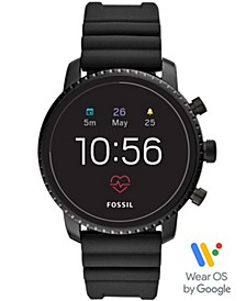 Men's Tech Explorist Gen 4 HR Black Silicone Strap Touchscreen Smart Watch 45mm, Powered by Wear OS by Google™