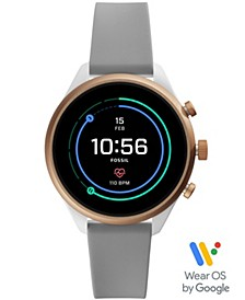 Women's Sport HR Gray Silicone Strap Smart Watch 41mm, Powered by Wear OS by Google™