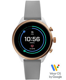 Fossil Women's Sport HR Gray Silicone Strap Smart Watch 41mm, Powered by Wear OS by Google™
