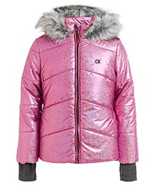 Little Girls Metallic Chevron Puffer Hooded Jacket