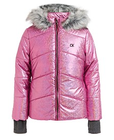 Calvin Klein Little Girls Metallic Chevron Puffer Hooded Jacket