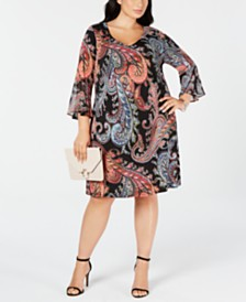 Connected Trendy Plus Size Paisley-Print Fit & Flare Dress