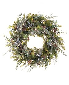 "30"" Pre-Lit LED Wreath - Rustic White Berry"