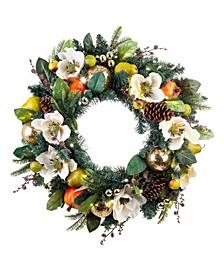 """30"""" Pre-Lit LED Wreath - Magnolia Orchard"""