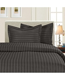 Luxurious Silky - Soft Wrinkle Free 3-Piece Stripe Duvet Cover Set, Full/Queen