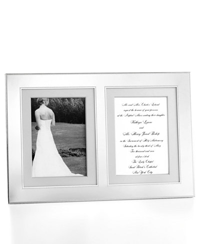 Martha Stewart Collection Picture Frame, Silver Bead Double ...