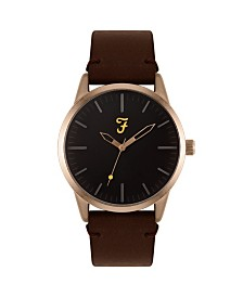 Farah Men's the Classic Collection Brown Leather Strap Watch 42mm