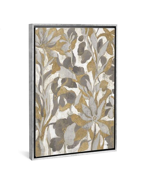 """iCanvas Painted Tropical Screen I Gray Gold by Silvia Vassileva Gallery-Wrapped Canvas Print - 26"""" x 18"""" x 0.75"""""""