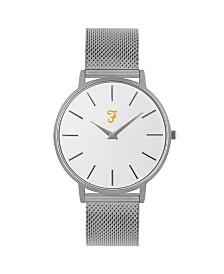 Farah Men's the Slim Jim Collection Sliver Stainless Steel Bracelet Watch 42mm